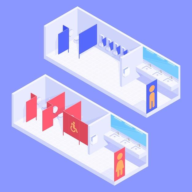 Toilette pubbliche isometriche maschili e femminili Vettore gratuito