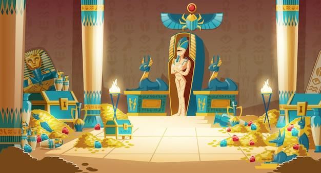 Tomba egizia - sarcofago faraone con mummia, tesoro e altri simboli della cultura. Vettore gratuito
