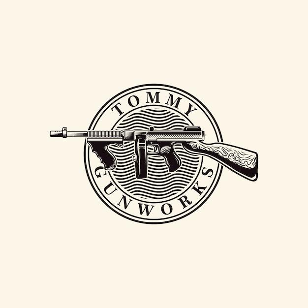 Tommy gun vector logo engraving Vettore Premium
