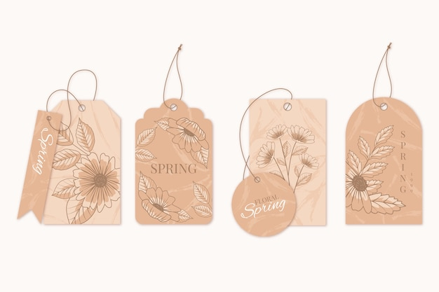 Tonalità marroni di ganci floreali primaverili Vettore gratuito