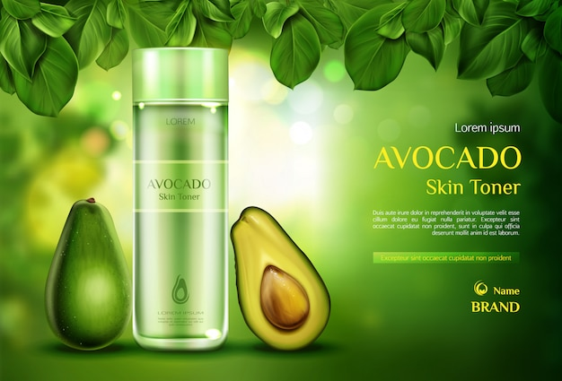 Tonificante per pelle cosmetici avocado. bottiglia di prodotto di bellezza organica su verde offuscata con foglie di albero. Vettore gratuito