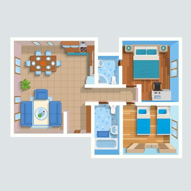Top view flat interior plan Vettore gratuito