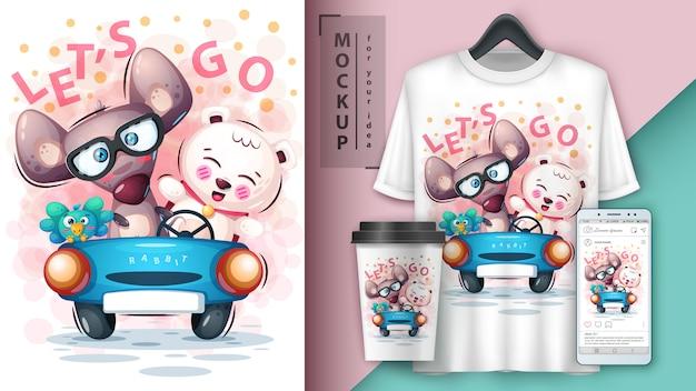 Topo, uccello, orso e merchandising Vettore Premium