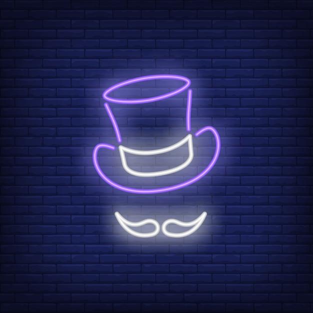 Topper cappello e baffi segno al neon Vettore gratuito