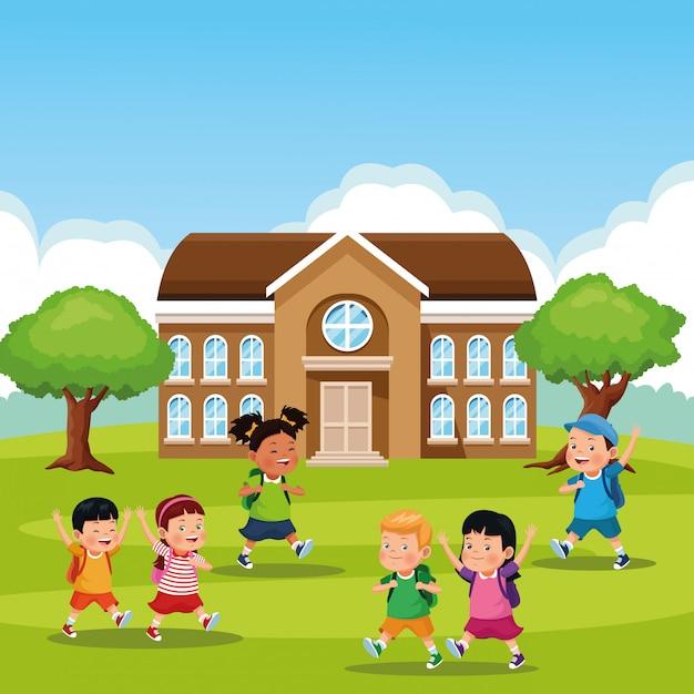 Torna a cartoon bambini di scuola Vettore gratuito
