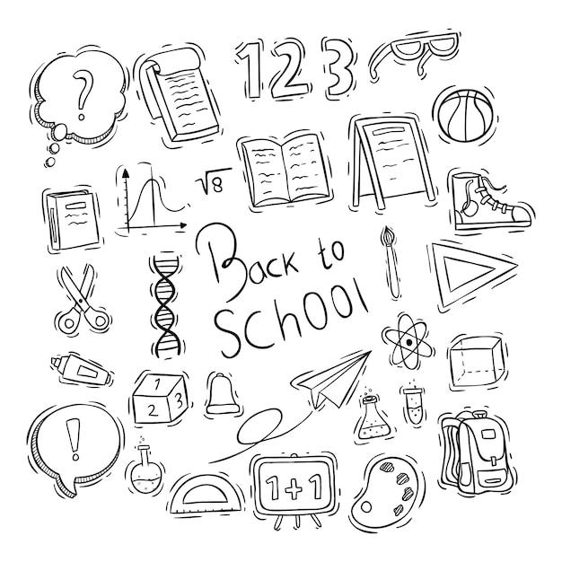 Torna a elementi di scuola o collezione di icone con stile doodle Vettore Premium