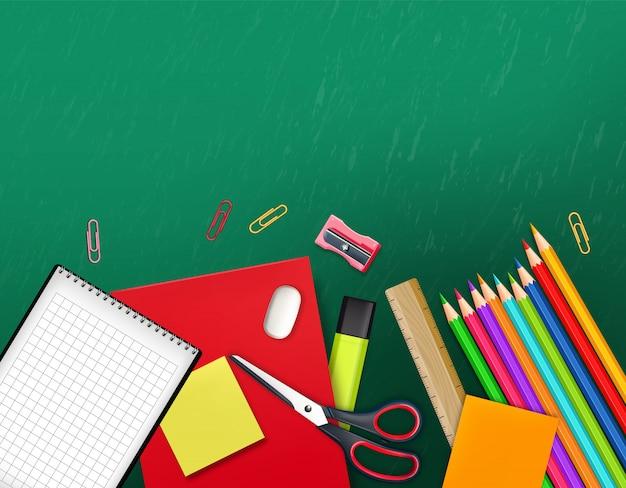 Torna a illustrazione di materiale scolastico Vettore Premium