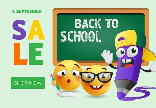 Torna a scuola, acquista ora il design del banner con la matita dei cartoni animati Vettore gratuito