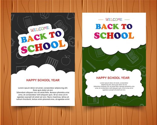 Torna a scuola banner colorato su sfondo di legno Vettore Premium