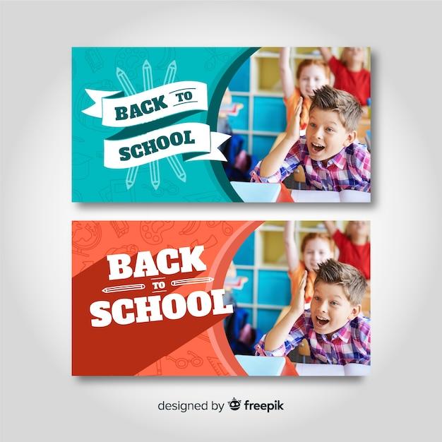 Torna a scuola banner con foto Vettore gratuito