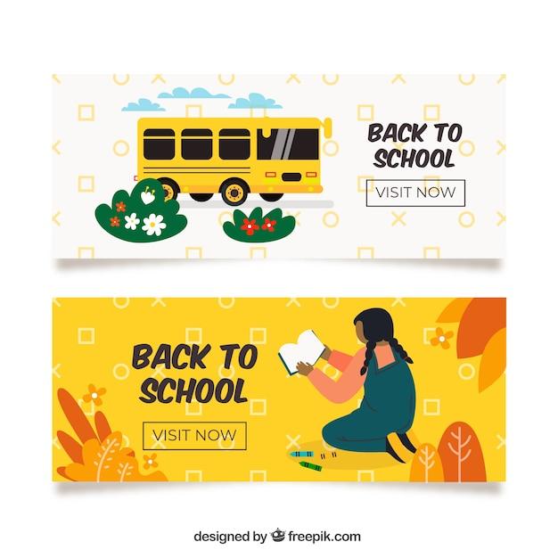 Torna a scuola banner con scuolabus Vettore gratuito