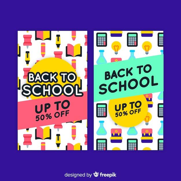 Torna a scuola banner di vendita Vettore gratuito