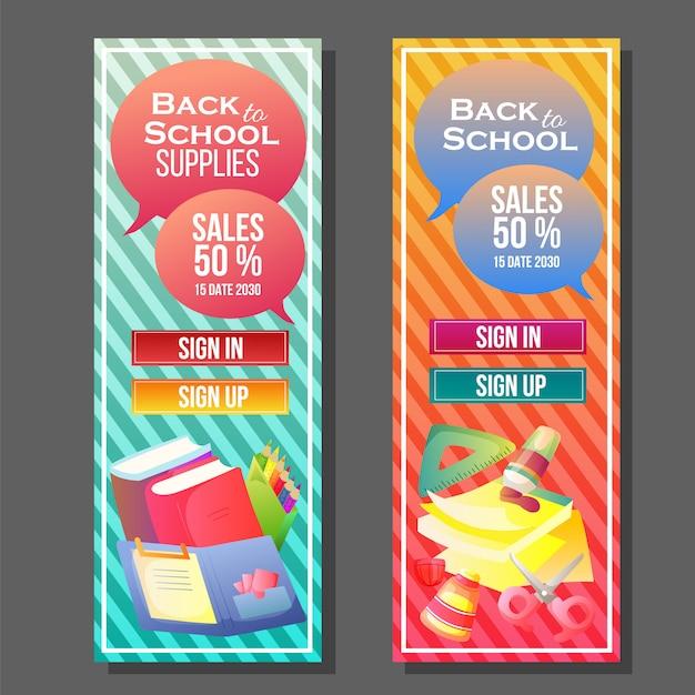 Torna a scuola banner modello colorato Vettore Premium