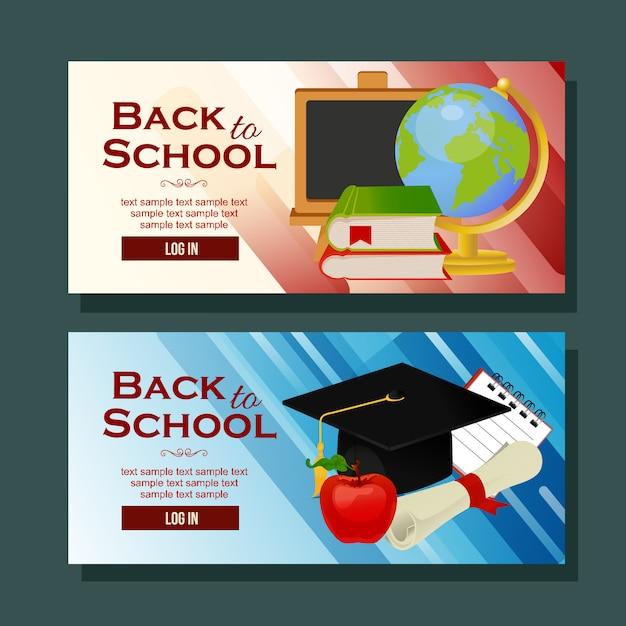 Torna a scuola banner orizzontale materiale scolastico Vettore Premium
