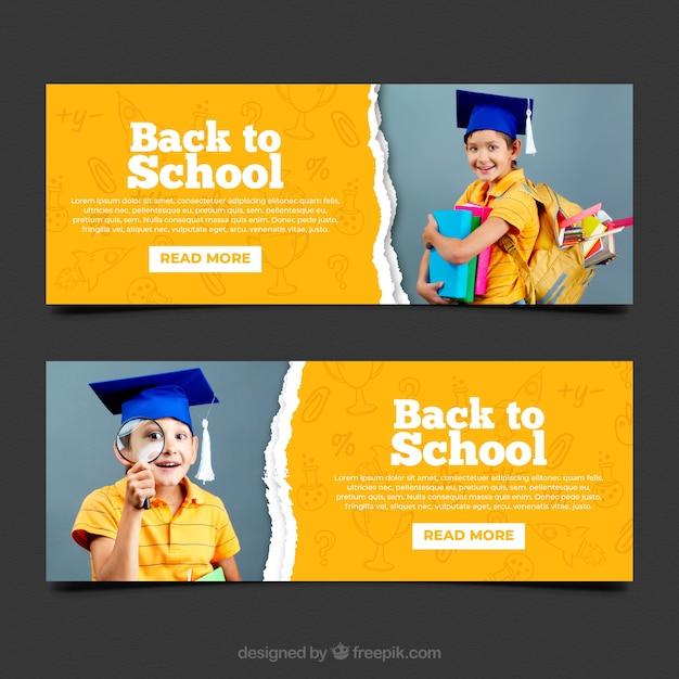 Torna a scuola banner web banner con foto Vettore gratuito