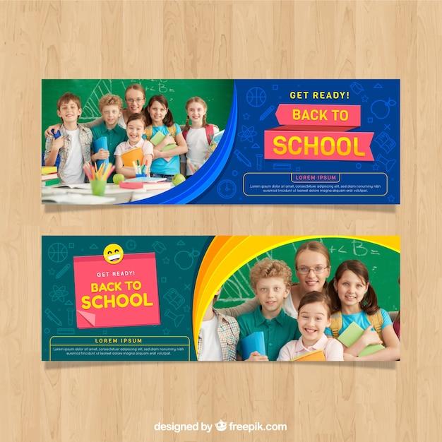 Torna a scuola banner web con raccolta di foto Vettore gratuito