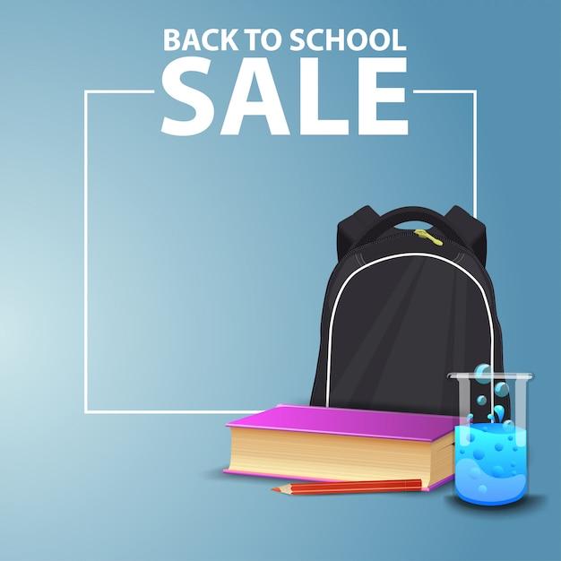 Torna a scuola, banner web quadrato per il tuo sito web con zaino scuola Vettore Premium