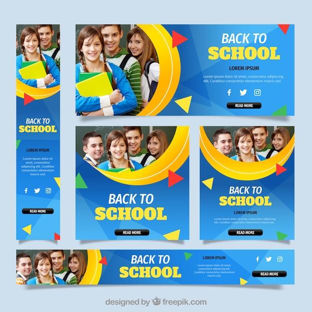 Torna a scuola banner web raccolta con foto Vettore gratuito
