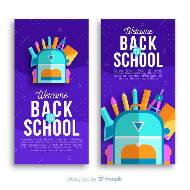 Torna a scuola banner Vettore gratuito