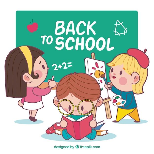 Torna a scuola con gli studenti Vettore gratuito