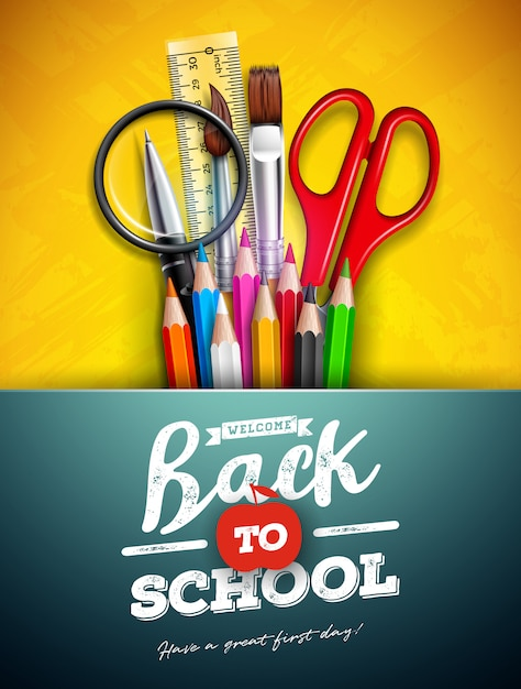 Torna a scuola design con matita colorata, lente d'ingrandimento, forbici, righello e tipografia lettera su sfondo giallo Vettore Premium