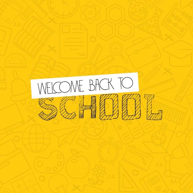 Torna a scuola design con sfondo giallo vettoriale Vettore gratuito