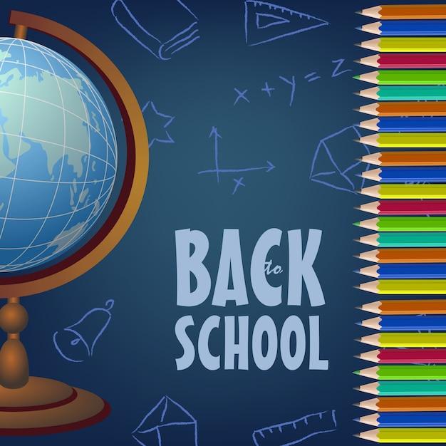 Torna a scuola design di poster con globo, matite colorate Vettore gratuito