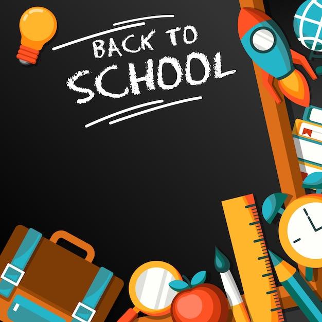Torna a scuola design piatto illustrazione Vettore Premium