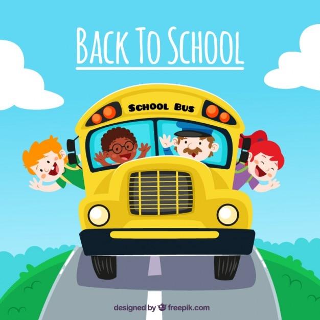 Torna a scuola divertente cartone animato Vettore gratuito