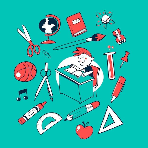 Torna a scuola doodle vector collection Vettore Premium