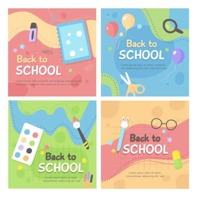 Torna a scuola post di instagram impostati Vettore gratuito