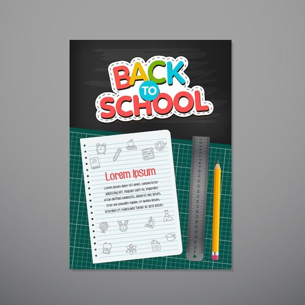 Torna a scuola poster, illustrazione vettoriale. Vettore Premium