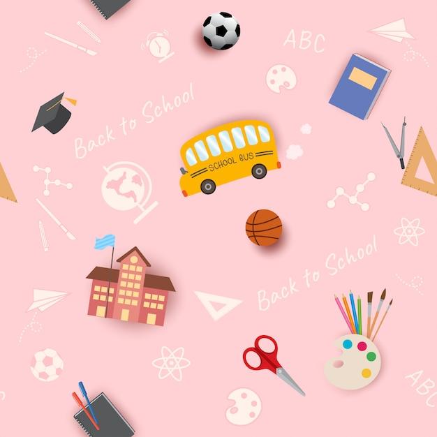 Torna a scuola seamless pattern rosa Vettore Premium