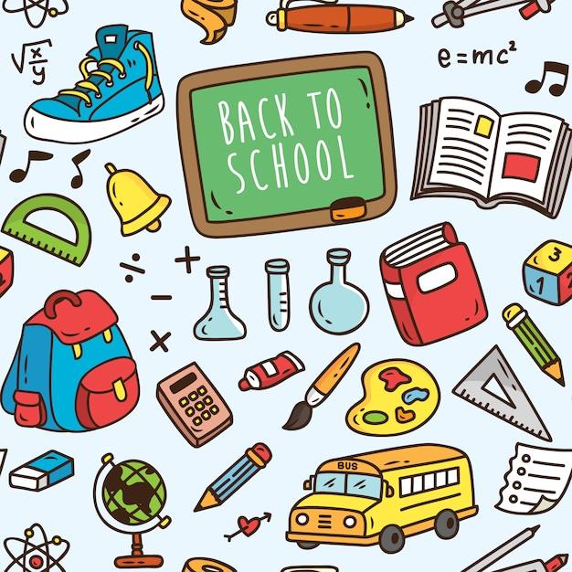 Torna a scuola sfondo a tema senza soluzione di continuità Vettore Premium