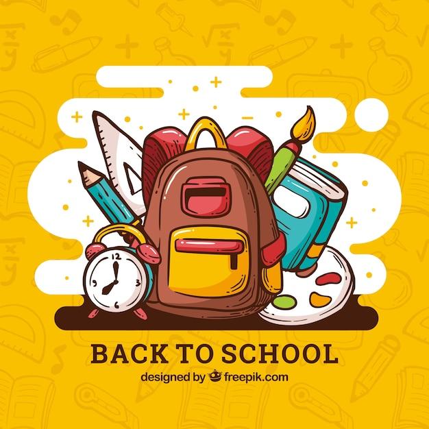 Torna a scuola sfondo con elementi Vettore gratuito