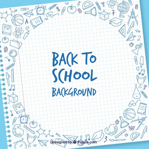 Torna a scuola sfondo con fogli e elementi Vettore Premium