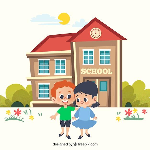 Torna a scuola sfondo con i bambini di fronte edificio Vettore gratuito