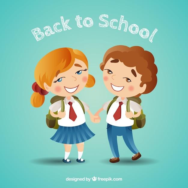 Torna a scuola sfondo con i bambini Vettore gratuito