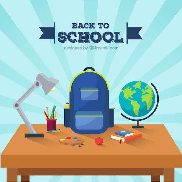 Torna a scuola sfondo con scrivania Vettore gratuito