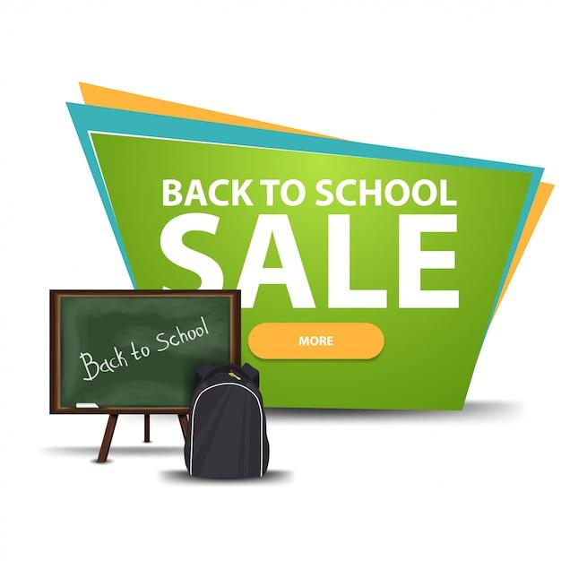 Torna a scuola vendita, banner di sconto con un pulsante Vettore Premium
