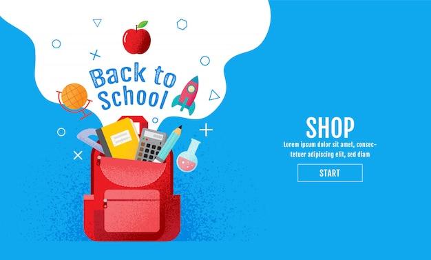 Torna a scuola vendita banner Vettore Premium
