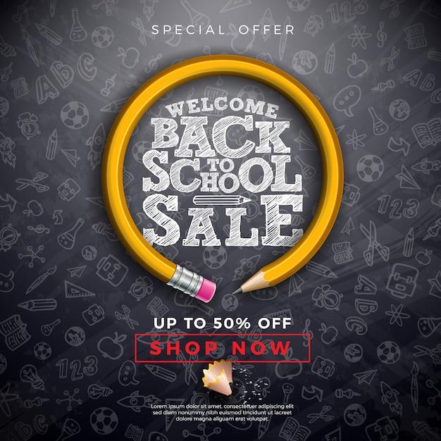 Torna a scuola vendita con matita di grafite, pennello e tipografia sfondo nero lavagna lavagna Vettore Premium