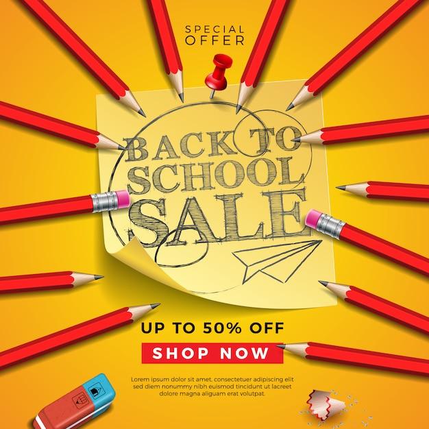 Torna a scuola vendita design con matita grafite, gomma e note appiccicose su sfondo giallo. Vettore Premium