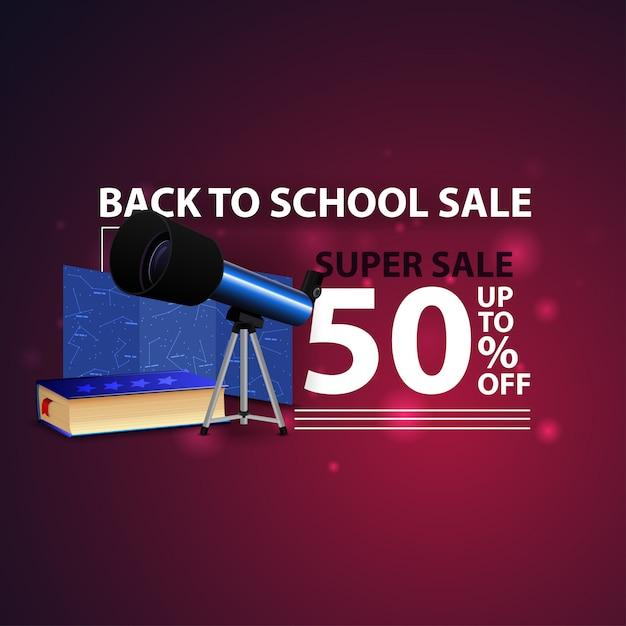 Torna a scuola vendita, moderno banner web 3d creativo con il telescopio Vettore Premium