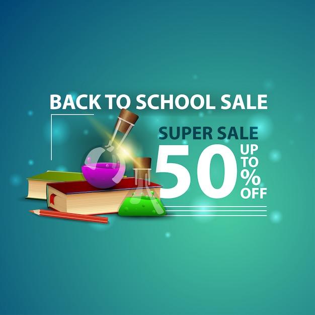 Torna a scuola vendita, moderno banner web 3d creativo con libri e boccette chimiche Vettore Premium