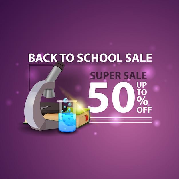 Torna a scuola vendita, moderno banner web 3d creativo con microscopio Vettore Premium