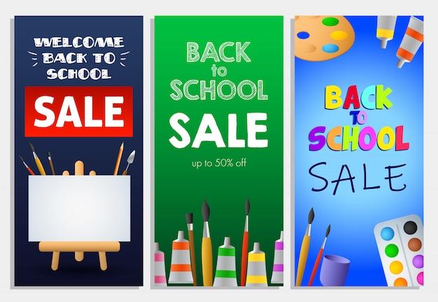 Torna a scuola vendita set di lettere, pennelli e cavalletto Vettore gratuito
