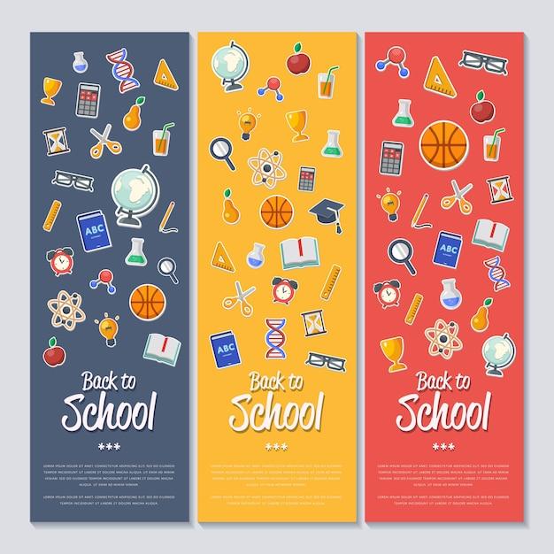 Torna al banner della scuola con icone piatte Vettore Premium