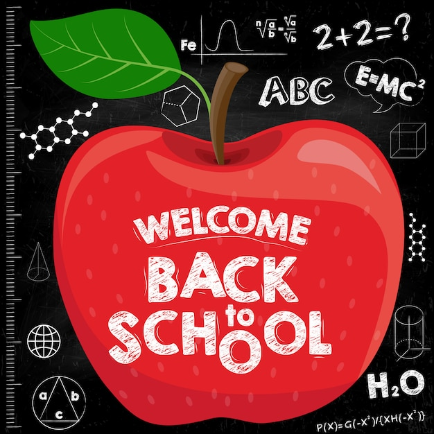 Torna al banner della scuola. mela rossa sul consiglio scolastico nero con iscrizioni. Vettore Premium