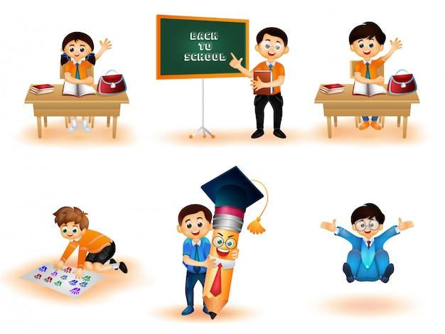 Torna al concetto di scuola. Vettore Premium